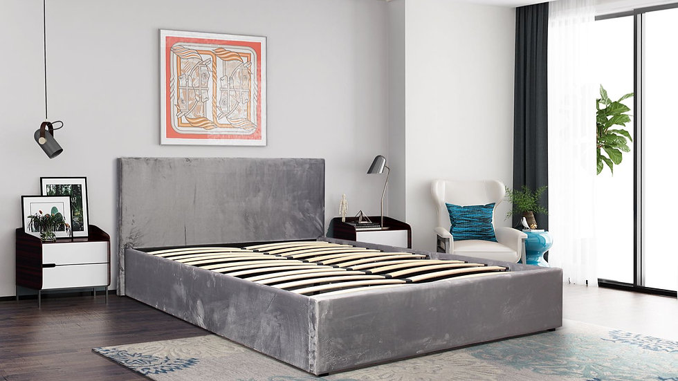 NEW Suedette Grey 4ft6 Double End Lift Ottoman Bed
