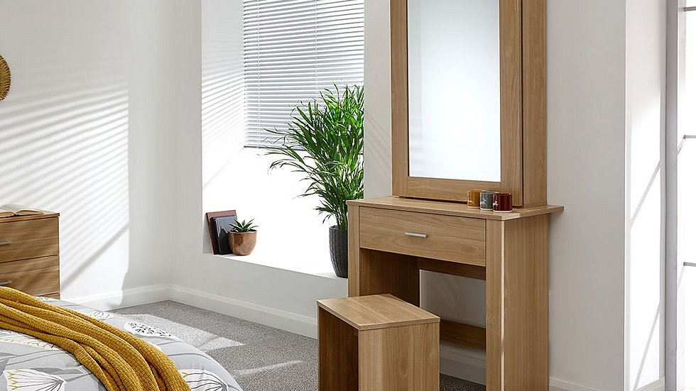 Contemporary Hobson Dressing Table With Matching Stool & Sliding Mirrored Door