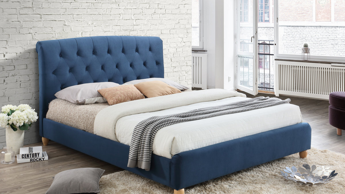 Luxurious Comforting Sleigh Bed In Midnight Blue Fabric 4ft 4ft6 5ft