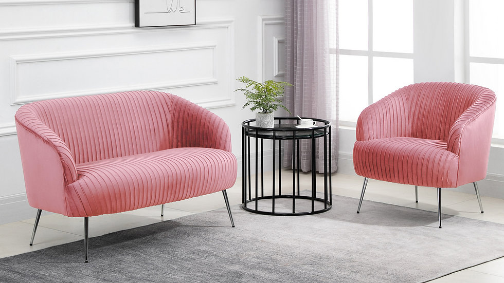Luxurious Pink Velvet Upholstered Layla Chair Set