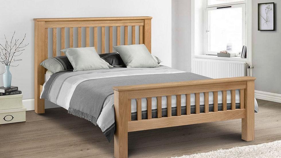 Shaker Design Solid Oak Bed Frame High or Low Foot end Option 4ft6 5ft 6ft