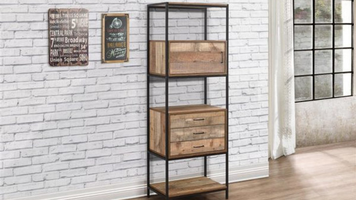 Luxury Urban 3 Drawer Shelving Unit In Rustic Oak