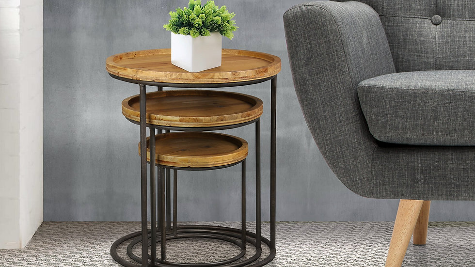 Edgy Industrial 2 Tone Nest Of Coffee Tables