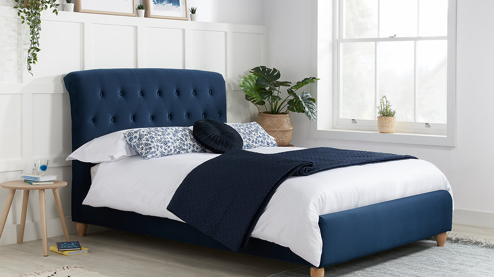 Classy Midnight Blue Brompton Fabric Buttoned Bedstead With Mattress Options