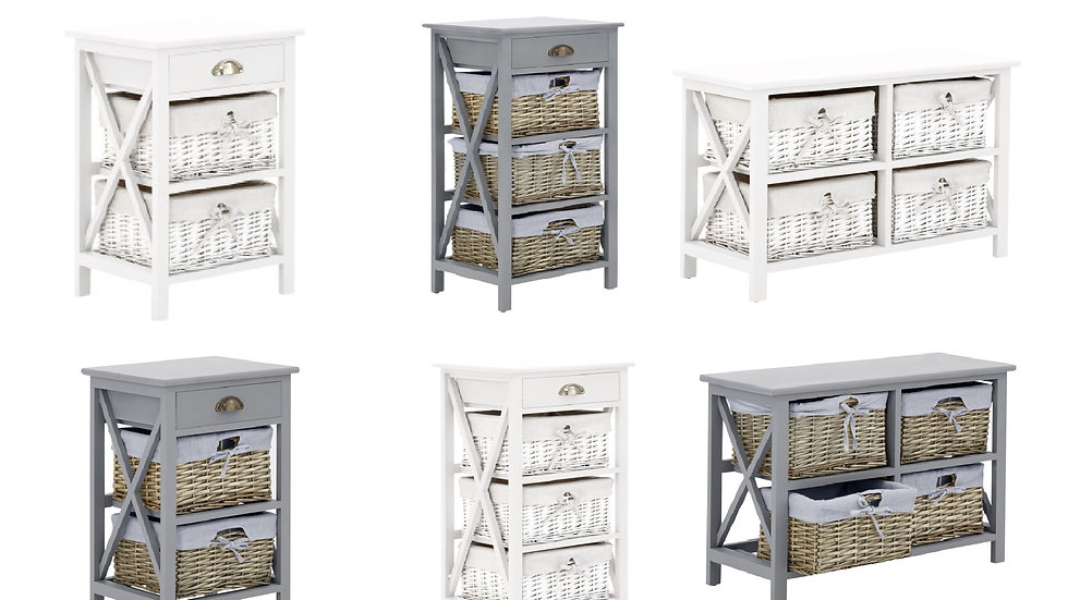 NEW Modish Padstow Vintage Style Wooden Storage Chests White Or Grey