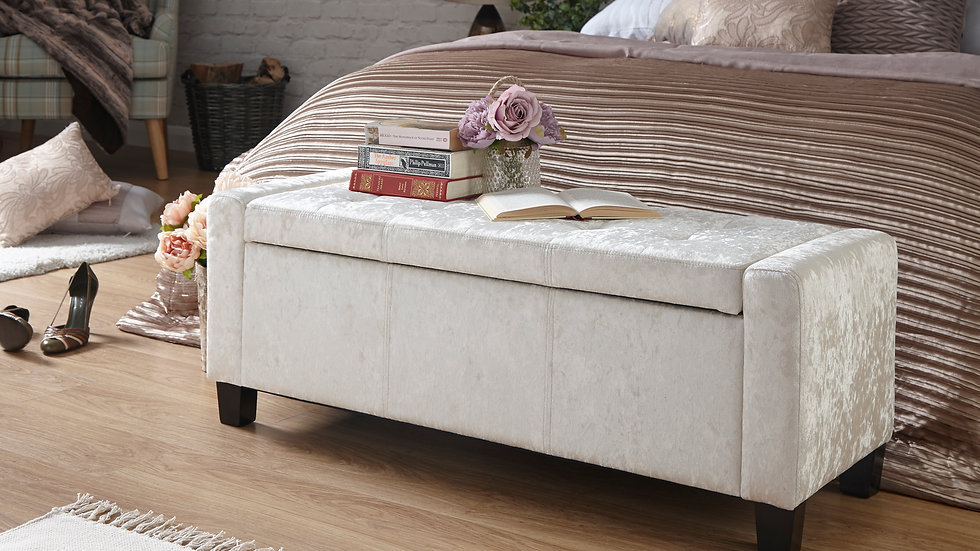 Luxury Ottoman Bench in Oyster Crushed Velvet With Wooden Feet and Button Design