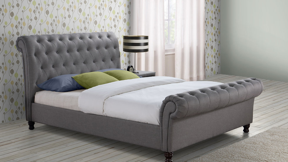 Contemporary Castello Light or Dark Grey Fabric Sleigh Double or King Bedstead