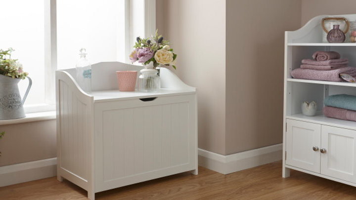 Contemporary Colonial Wooden Bathroom Storage Hamper White or Grey