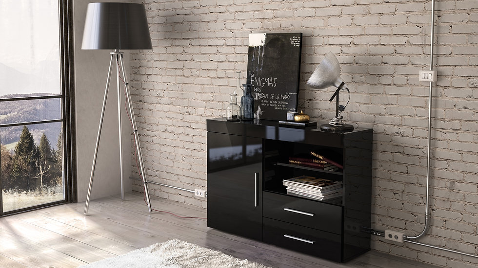 New Stylish Modern 1 Door 2 Drawer Side Board 4 Contemporary Colours Available