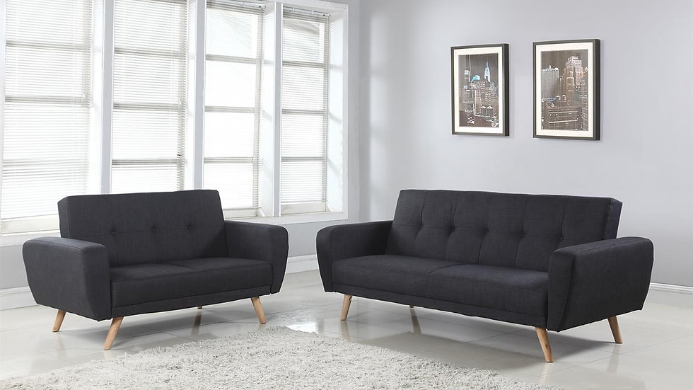 Stylish & Practical Farrow Medium & Large Sofa Bed in Grey Fabric