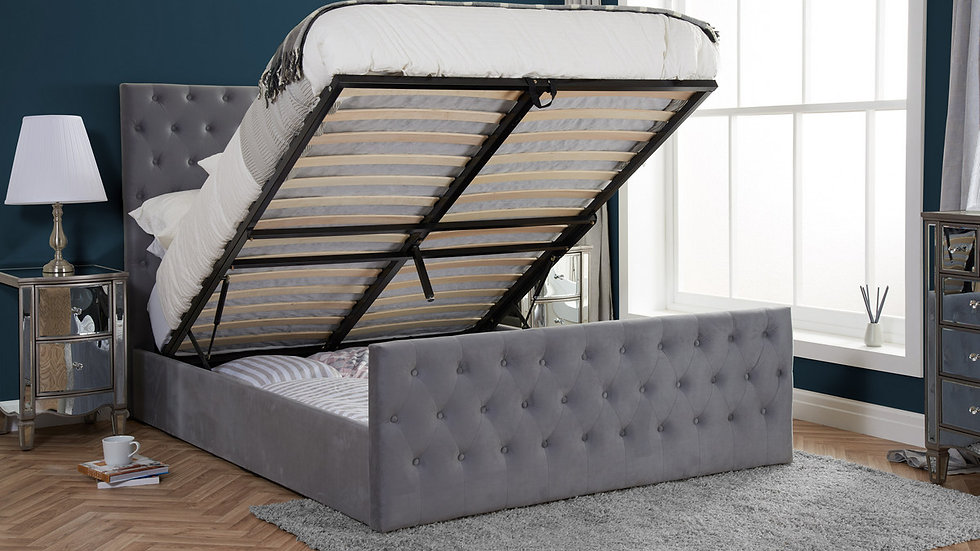Luxurious Grey Velvet Marquis Ottoman Bed Frame with Button Detailed Headboard