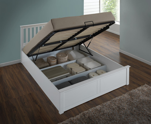 Wooden Ottoman Storage Bed Solid Base