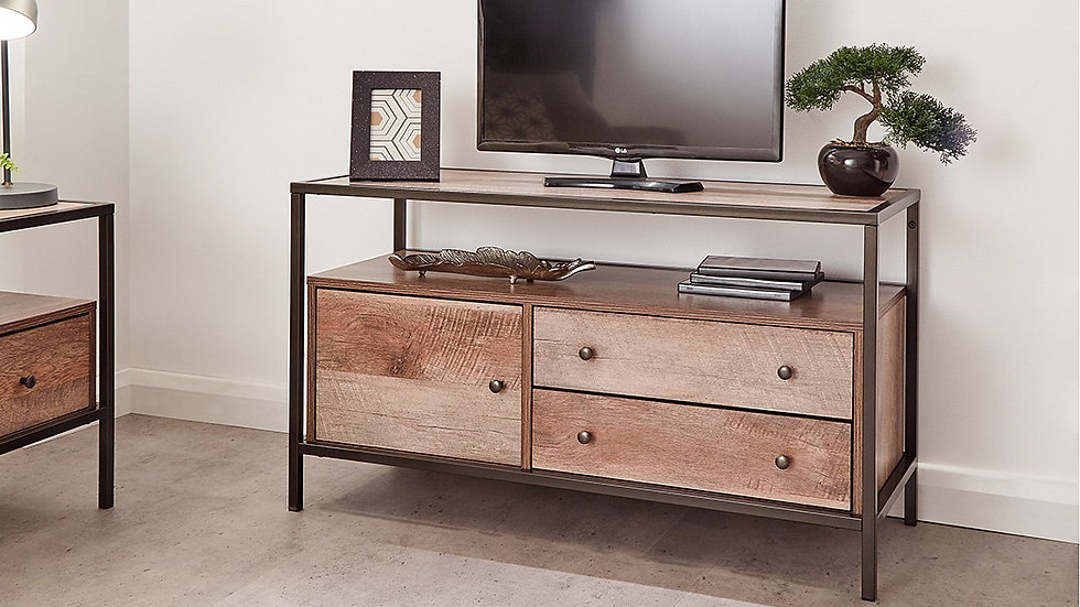 Brunel Industrial Urban Chic Mango Wooden TV Unit With a Cupboard & Twin Drawers