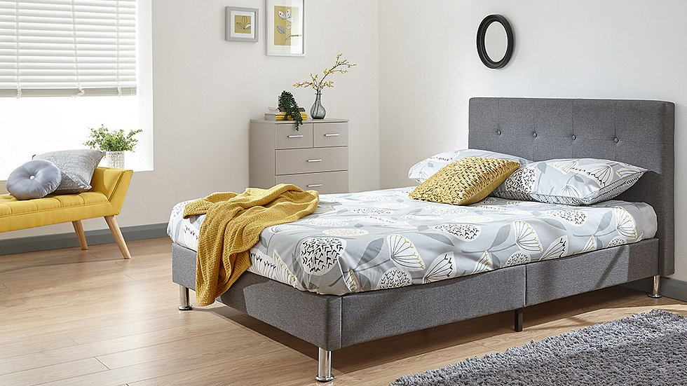 New Tuscan Charming Grey Fabric Bed In A Box Contemporary Frame