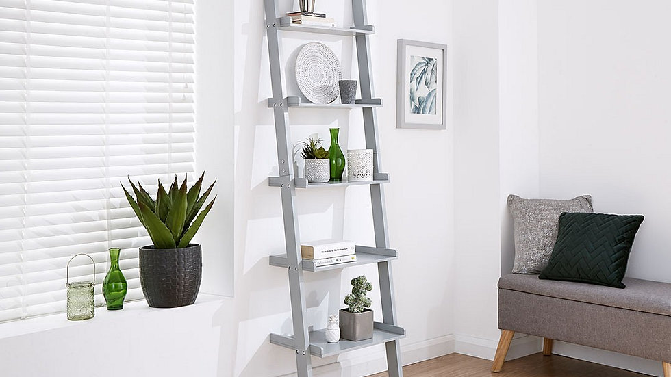 Modernistic  5 Tier Ladder Style Wall Rack available in Grey or White