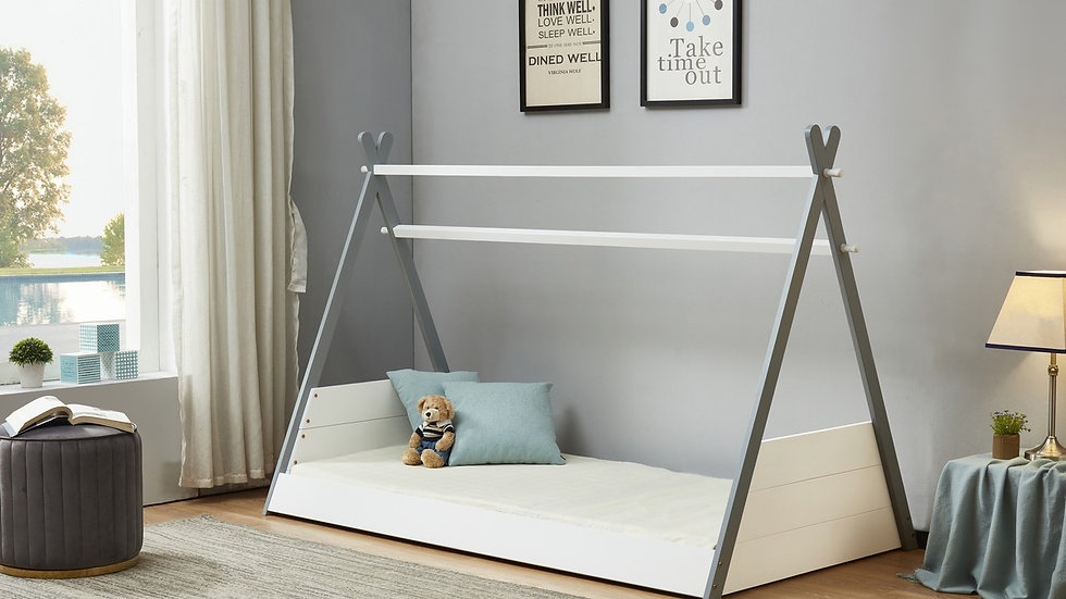 NEW Wooden Children's Single Teepee Bed in Grey & White