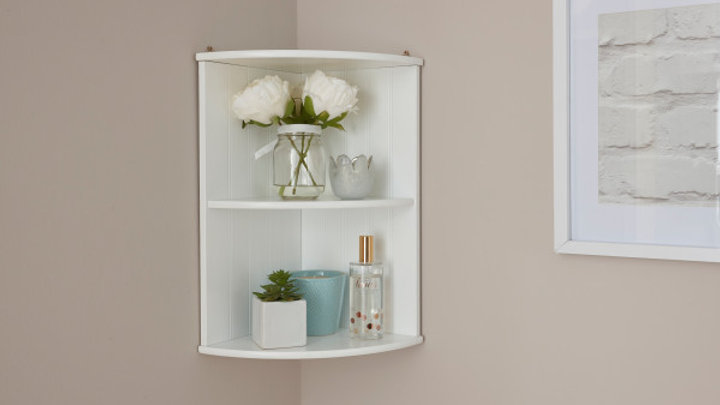 Simplistic Painted Corner Wall Shelving Display Unit in White or Grey Colour
