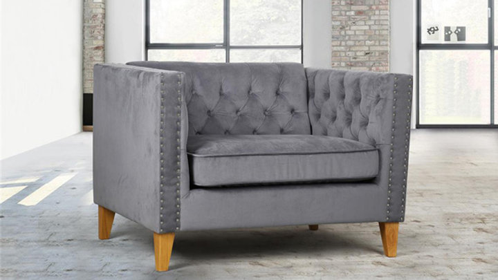 Traditional Snuggle Chair Grey Velvet Button Back Studded Finish