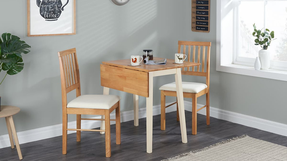 Drop Leaf Dining Set Table and Two Chairs Cream and Oak Effect Natural Finish