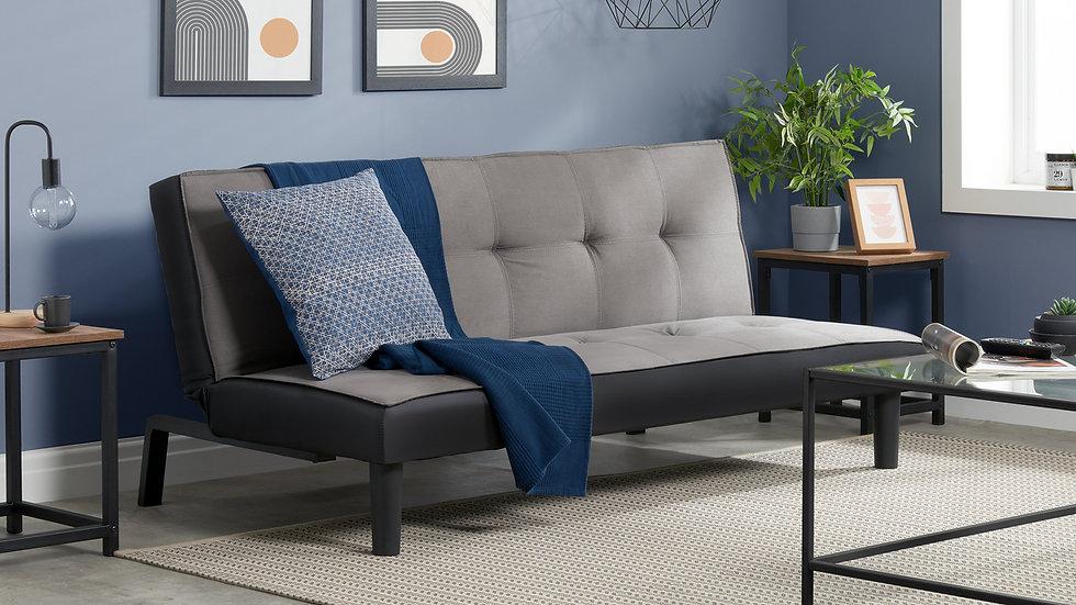 Stylish Grey Velvet Fabric Sofa Bed