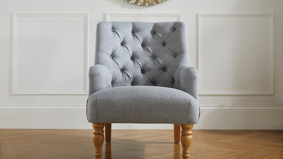 Elegant Occasional Button Back Padstow Fabric Armchair