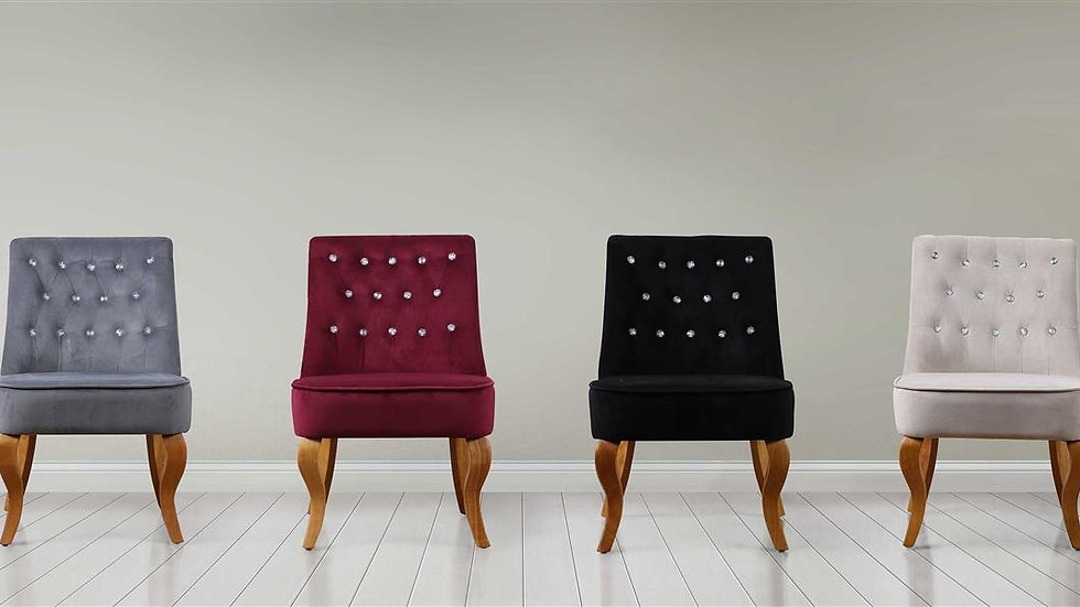 Traditional Stylish Diamante Darcey Chair Grey, Plum, Black or Beige Fabric