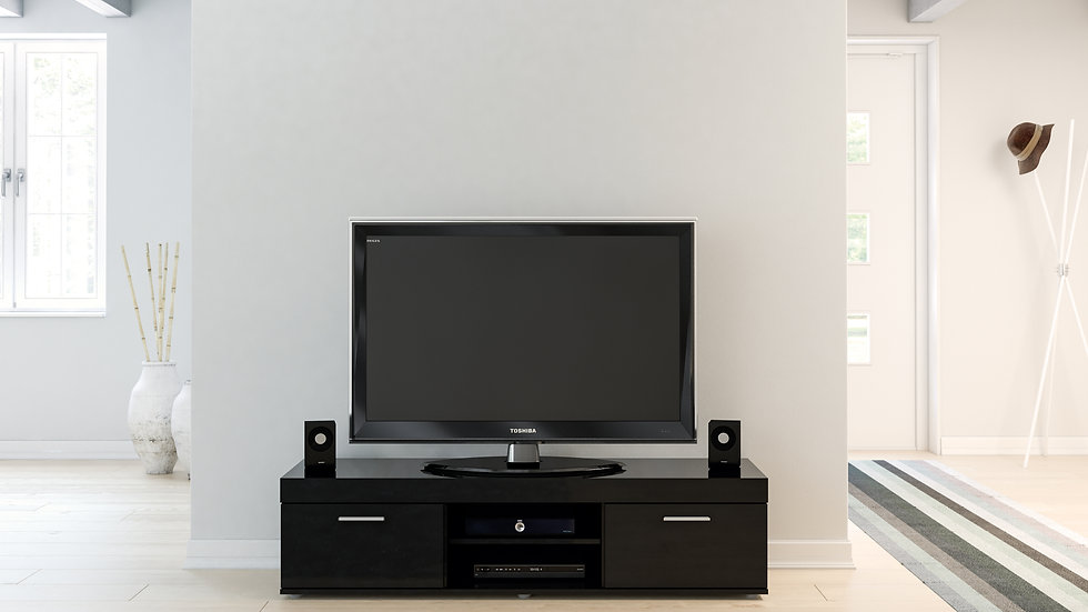 New Contemporary Highly Practical Black Glossed TV Unit With Storage
