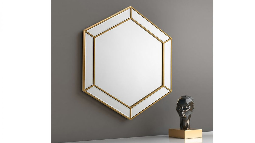 Striking Gold Melody Hexagonal Mirror