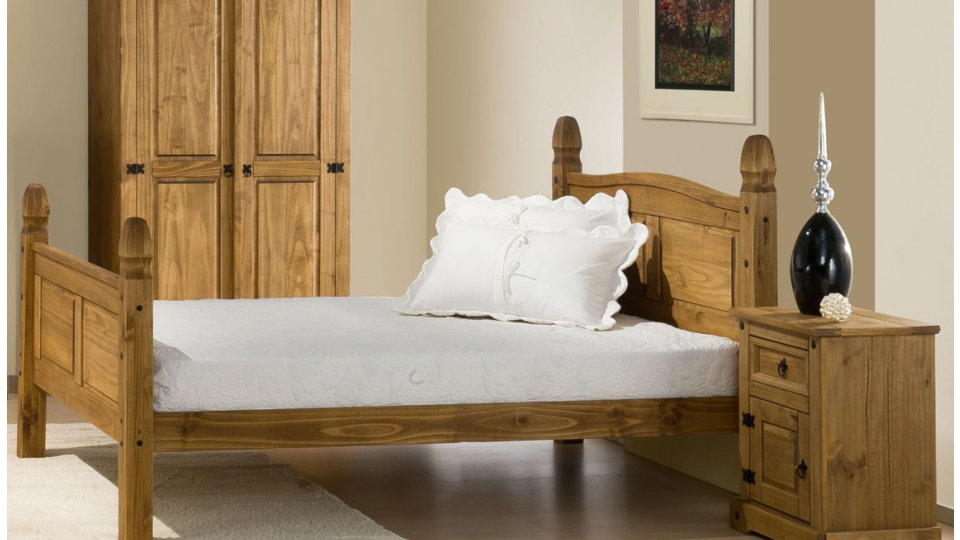 5ft Traditional Waxed Pine Bed Frame With Stylish Black Stud Detailing Bed Frame