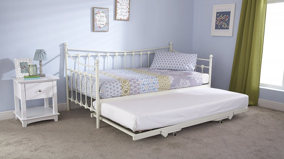 Traditional Victorian Metal 3FT Day Bed only or with trundle option