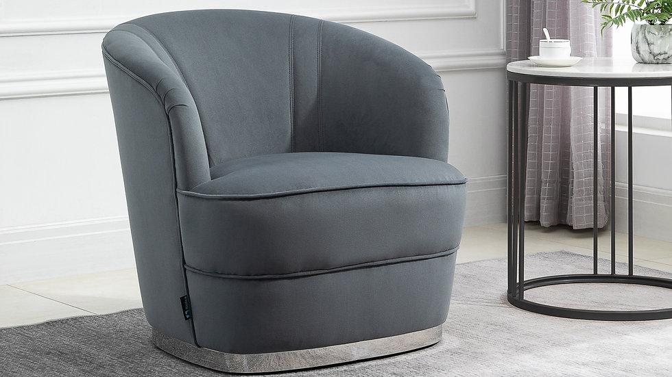 Modern Grey Accent Chair Deep Cushioning Standalone Chair Silver Trim