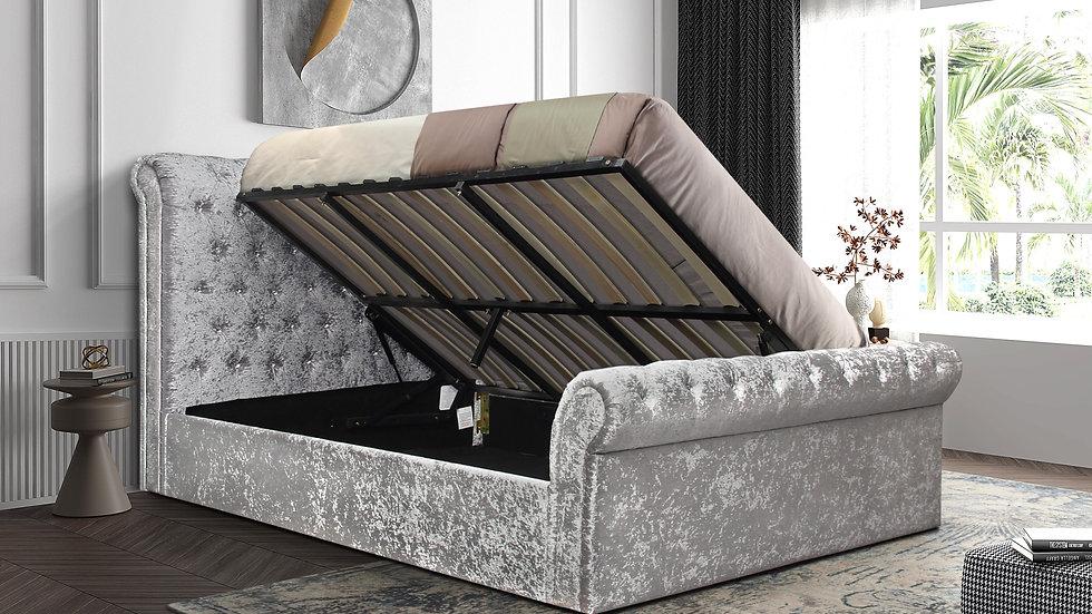 Stunning Kingston Crushed Silver Velvet Storage Sleigh Bed 4FT, 4FT6 & 5FT