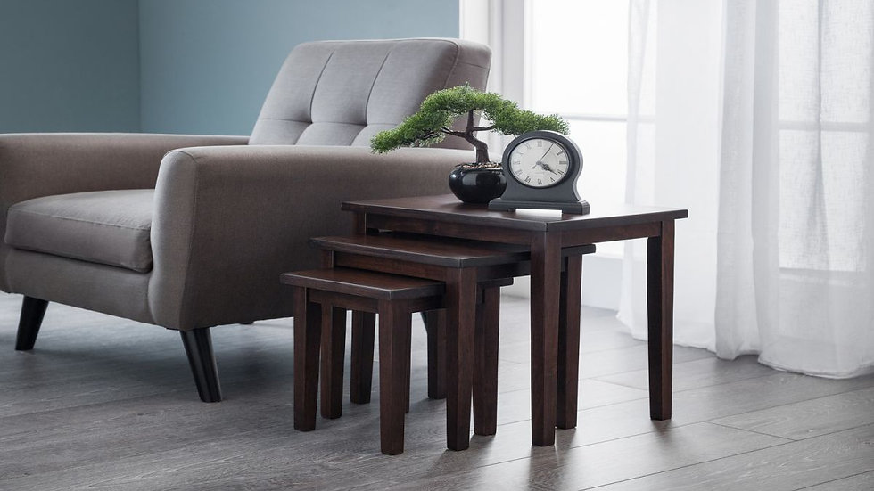 New Stylish Cleo Nest of 3 Wooden Tables Available in 6 Contemporary Colours