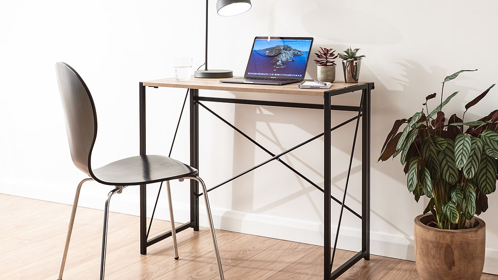 Contemporary Style Computer Folding Desk with a Deep Shelf in Oak & Black