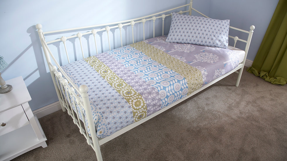 3ft Single Metal Bed in White Or Ivory With Trundle Options