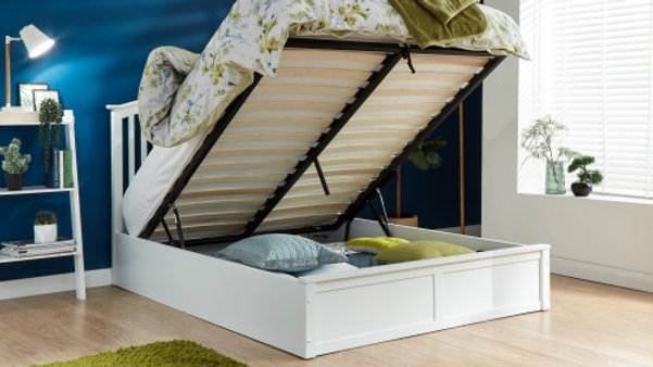 Contemporary Madrid Wooden Storage Ottoman Bed Frame Available In White
