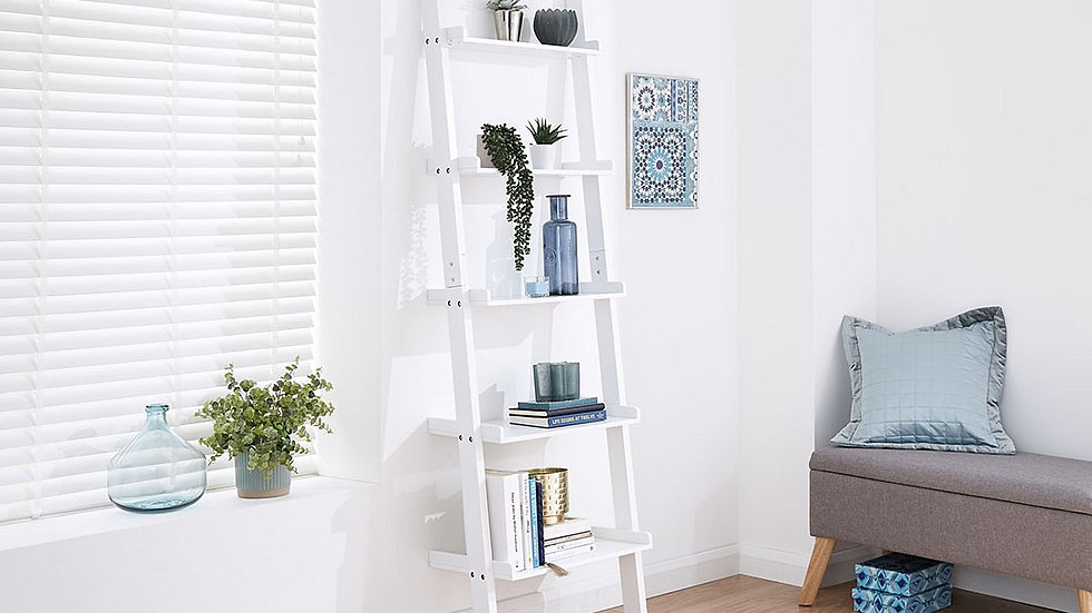Modernistic Grey or White 5 Tier Ladder Style Wall Rack