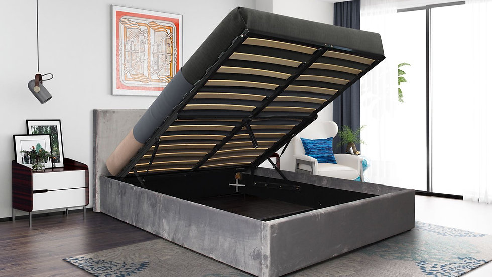 NEW ARRIVAL Modern Grey Suedette End Lifting Ottoman Bed With Mattress Options