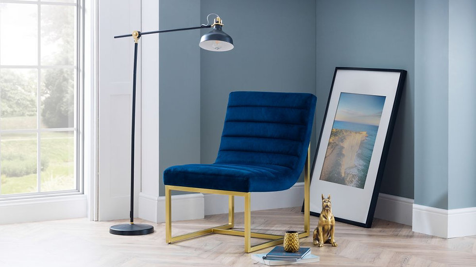 Luxurious Bellagio Chair Upholstered In Blue Velvet Fabric