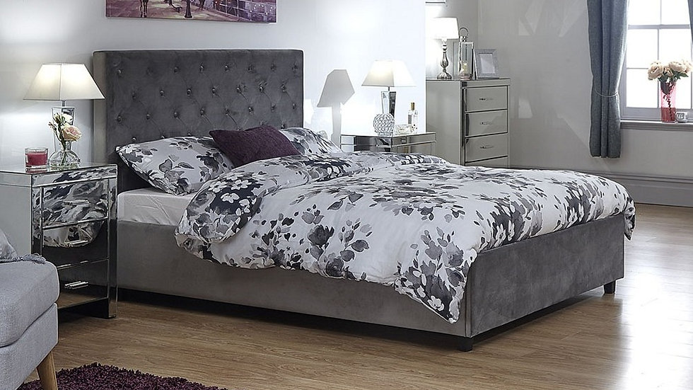 Deep-buttoned Upholstered Soft Velvet Chenille Fabric Utah Ottoman Bed