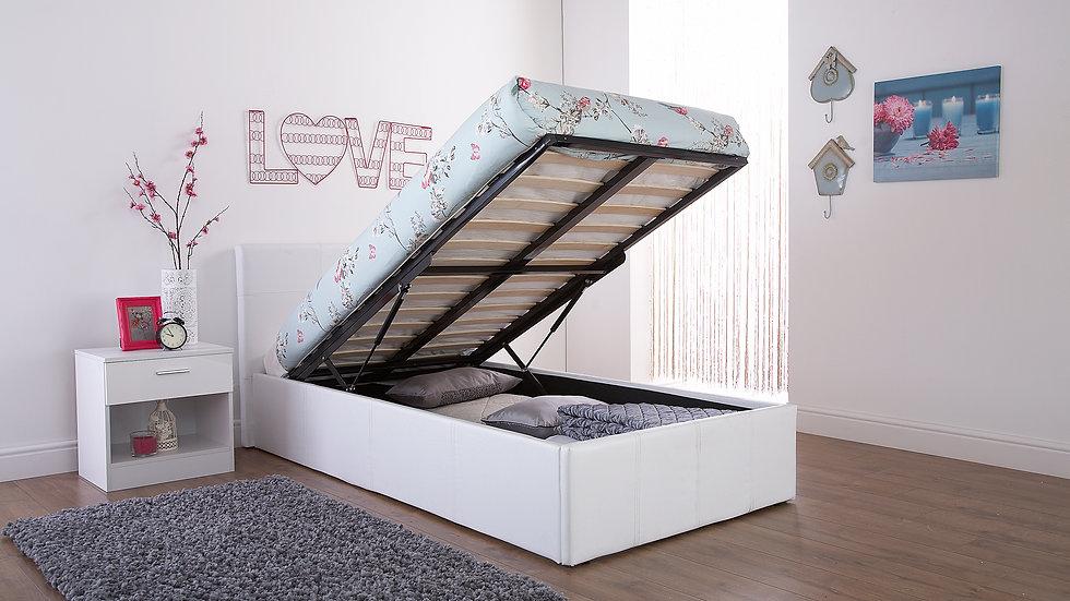 Faux Leather Ottoman Bed Memory Foam Mattress, Duvet, Pillows Inc 3' 4' 4'6 5'