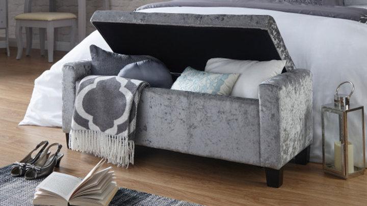Sleek And Stylish Verona Storage Bench In Silver