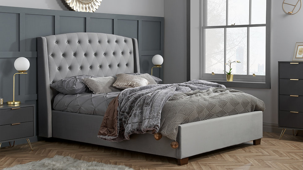 Luxurious Balmoral Grey Velvet Bed Wingback Headboard Double, King or Super King