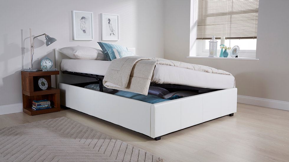 White Faux Leather Side Lift Storage Bed Available In 3FT