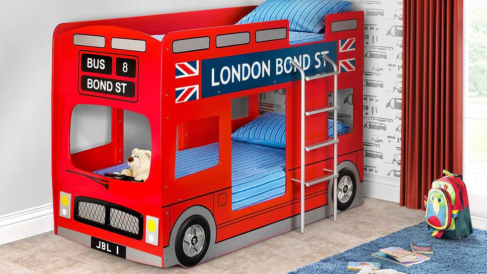 London Bus Bunk Bed Novelty Children's Bed Mattress Options Solid Slats w Ladder