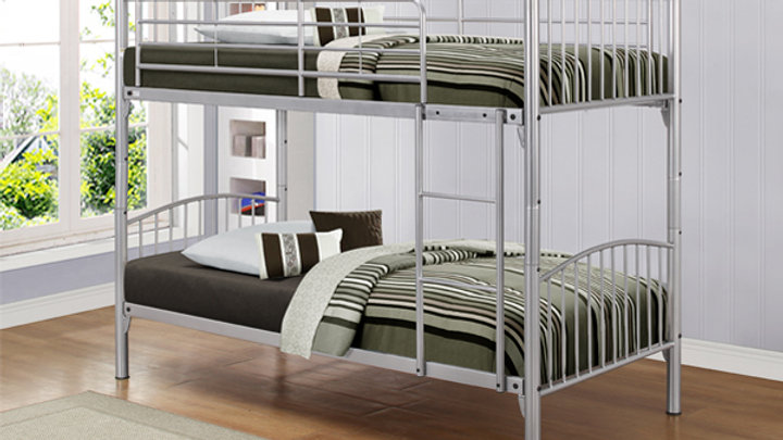 Slick Metallic finish 3FT Single Bunk Bed available with Mattress Options