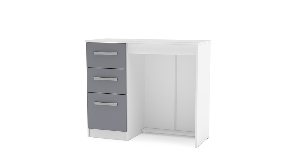 New Modern 3 Drawer Office Desk In White & Grey High Gloss Finish