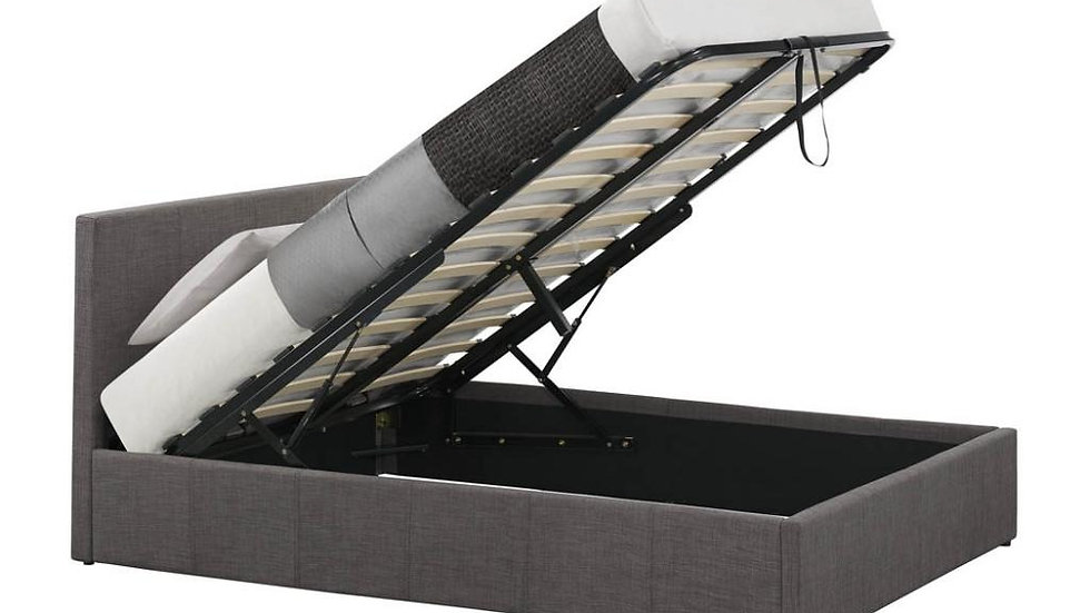 New Modern Grey Fabric End Lifting Ottoman Bed With Mattress Options