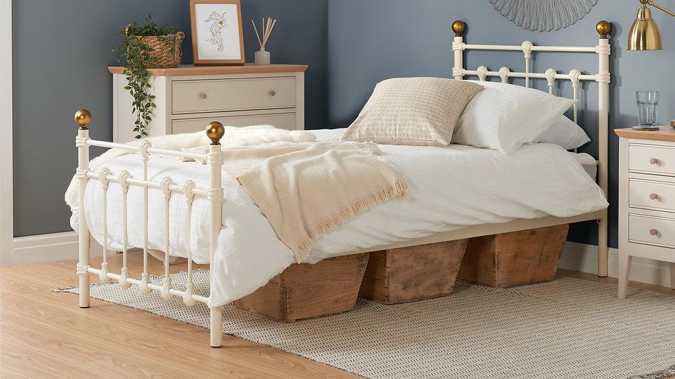 3ft Single Cream Metal Bed Antique Brass Finials