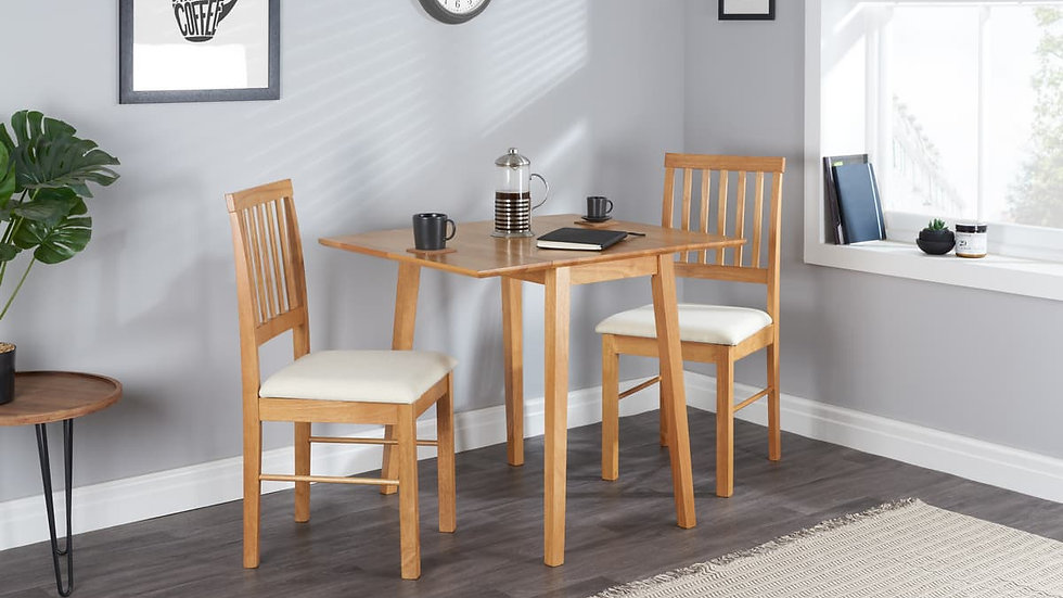 Oak Finish Dining Set Dining Table Drop Sides Two Chairs Upholstered Seat